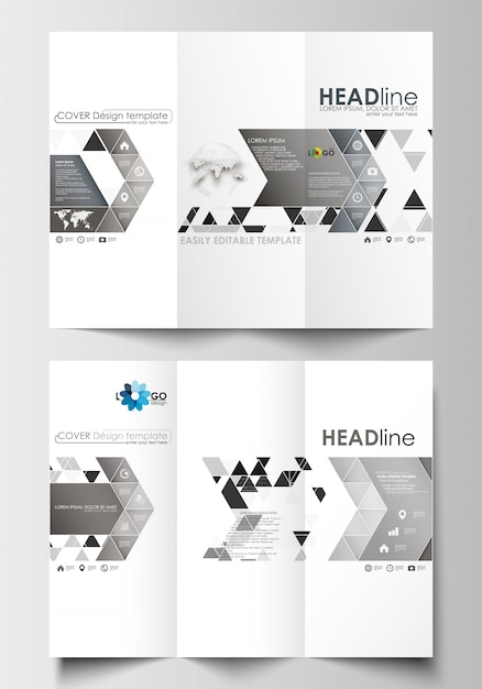 Tri-fold brochure business templates on both sides. abstract triangular background Premium Vector