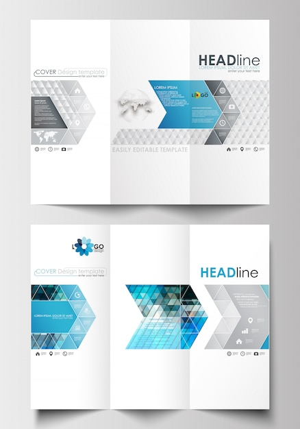 Tri-fold brochure business templates on both sides. easy editable layout in flat design. Premium Vector