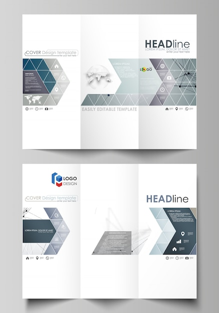 Tri-fold brochure business templates on both sides Premium Vector