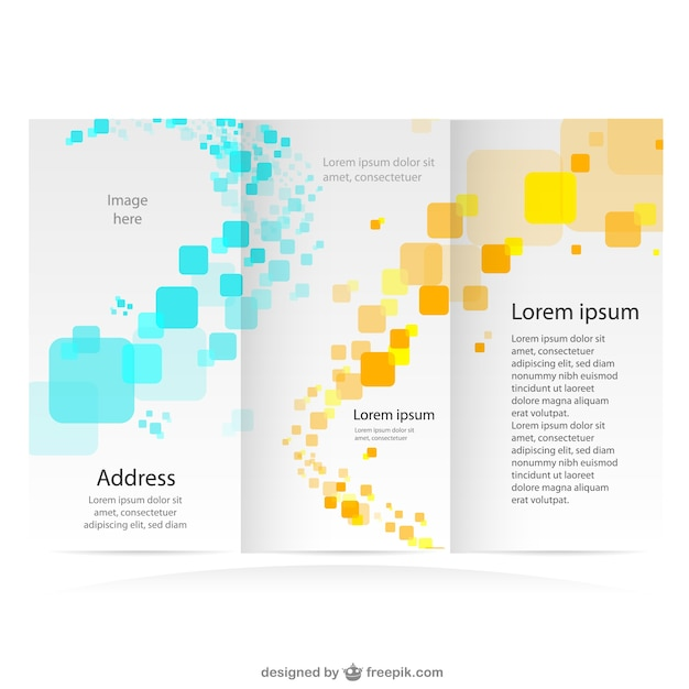 Tri-fold brochure with yellow and blue squares Free Vector