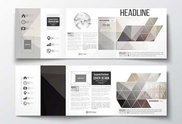 Tri-fold brochures, square design templates Premium Vector