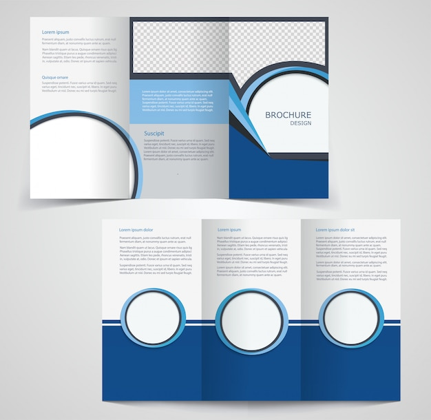 2 Fold Brochure Template Free: Tri-fold Business Brochure Template, Two-sided Template
