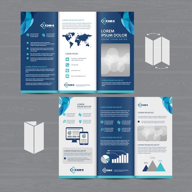 Брошюра деловая tri fold leaflet flyer Premium векторы