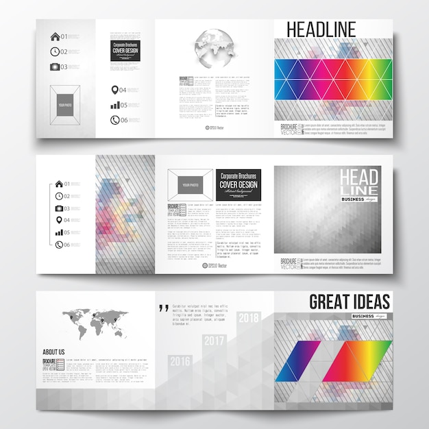 Tri-fold templates for brochure with polygonal backgrounds Premium Vector