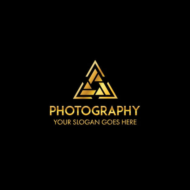 Triangel professional photography logo template Premium Vector