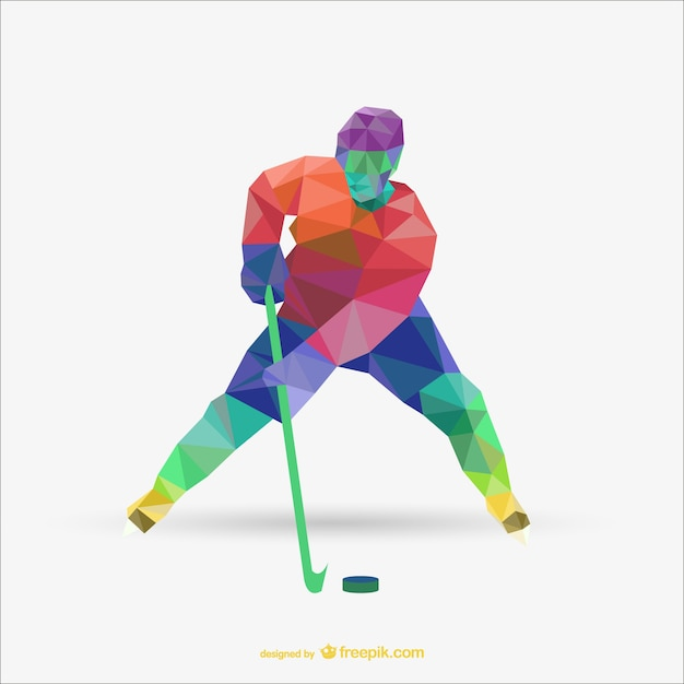 Triangle Abstract Vector Of Hockey Player Vector