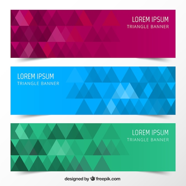 Triangle banners Free Vector