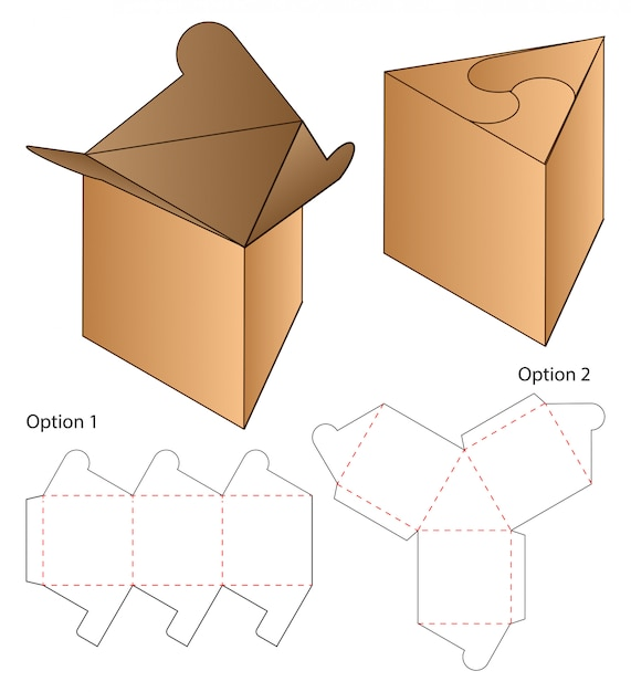Triangle box packaging die cut template  . 3d Premium Vector