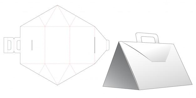 핸들 다이 컷 템플릿 디자인 삼각형 상자 프리미엄 벡터