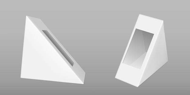 Triangle cardboard box for sandwich Free Vector