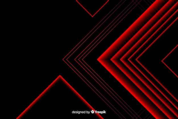 Triangle design in red light lines Free Vector