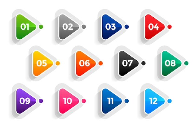 Triangle directional bullet points numbers from one to twelve Free Vector