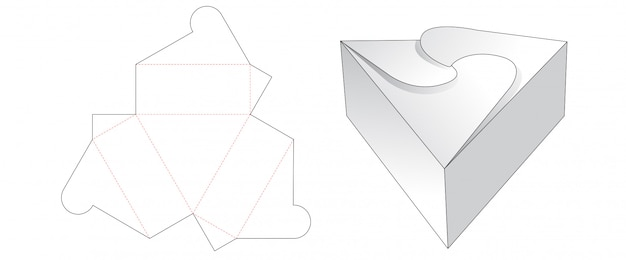 Triangle gift box cut template design Premium Vector