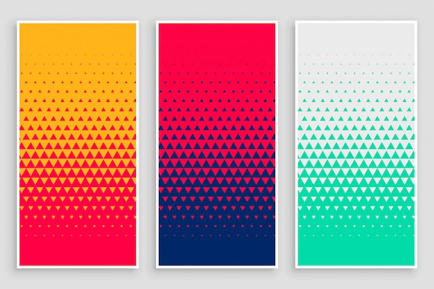 Triangle halftone pattern in different colors Free Vector