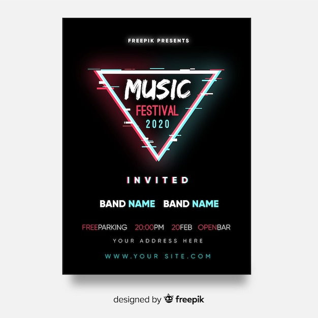 Triangle music festival poster Free Vector
