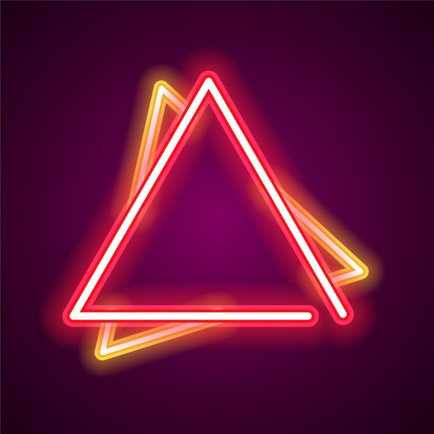 Triangle neon banner. Premium Vector