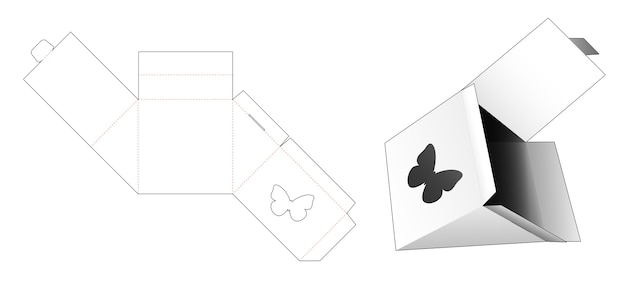 Triangle packaging with butterfly shaped window die cut template Premium Vector