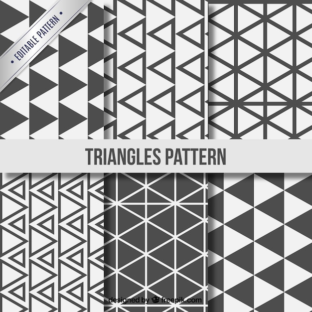 Triangle patterns collection Free Vector