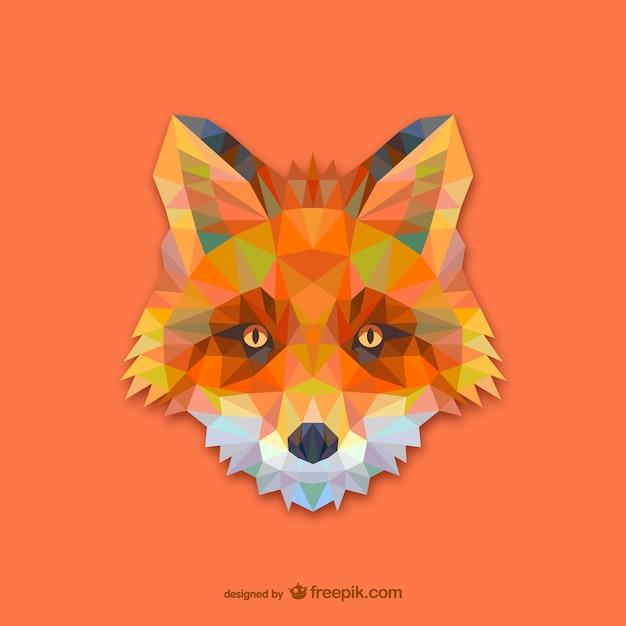 Triangle red fox design Free Vector