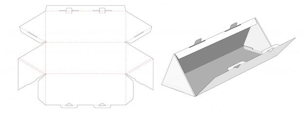 Triangle shape corrugated box packaging die cut template design Premium Vector