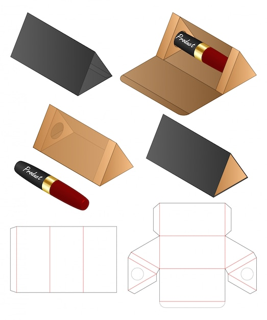 Triangle shape paper bag packaging diecut template Premium Vector