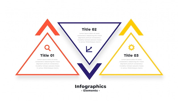 Triangle shape three steps infographics template Free Vector