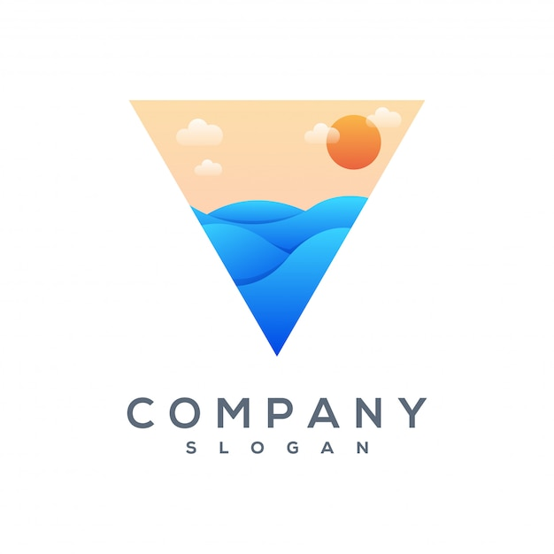 Triangle wave logo vector ready to use Premium Vector