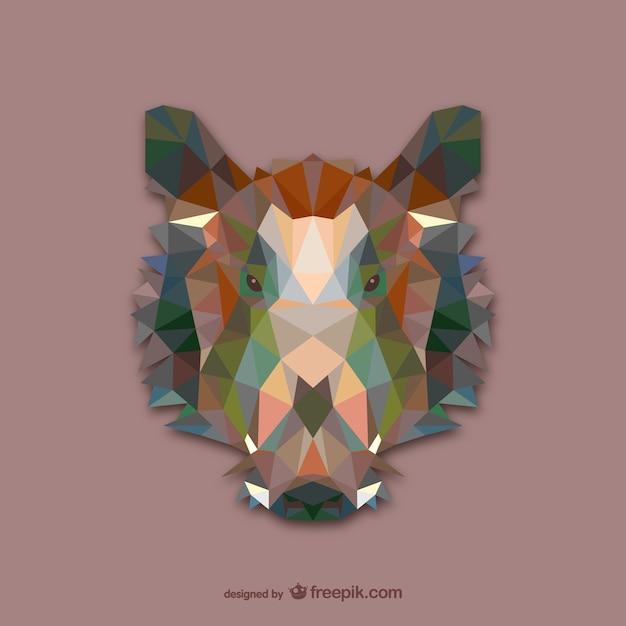 Triangle wild boar design  Free Vector