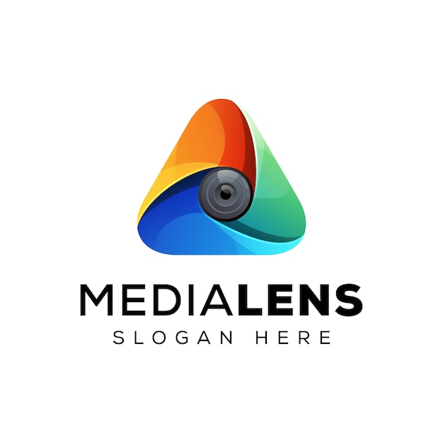 Triangle with lens logo concept, colorful triangle logo design Premium Vector