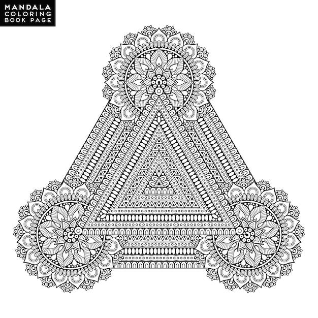 da3fb05bfdd2c Triangle with mandala design Vector | Premium Download