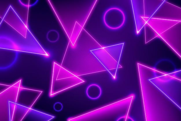 三角形と円の抽象的なネオンの背景 無料ベクター