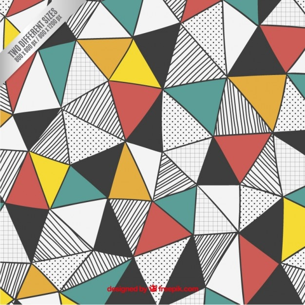 Triangles background in hand drawn style Vector Free