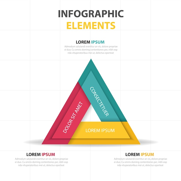 Triangular infographics with three colors Free Vector
