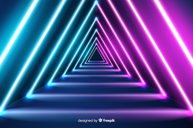 Triangular neon shapes background Free Vector
