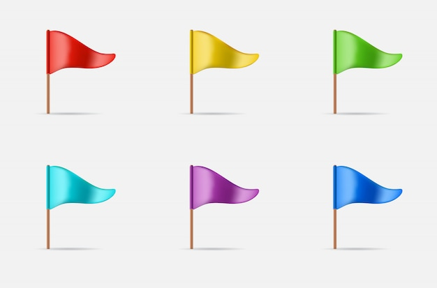 Triangular waving flag set Premium Vector