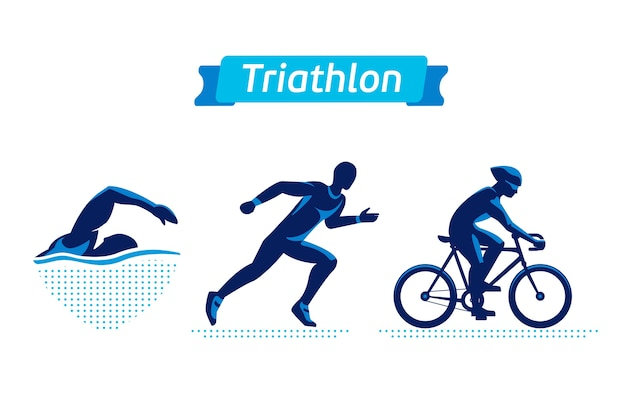 Triathlon logos or badges set Premium Vector