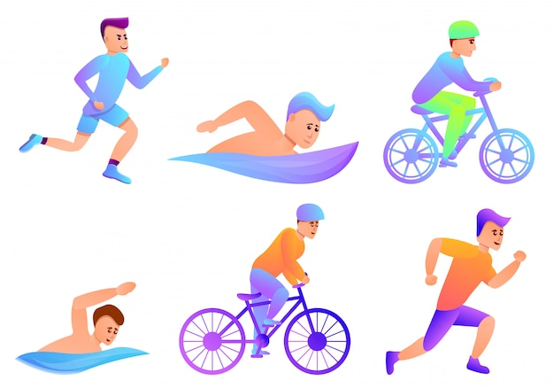 Triathlon set, cartoon style Premium Vector