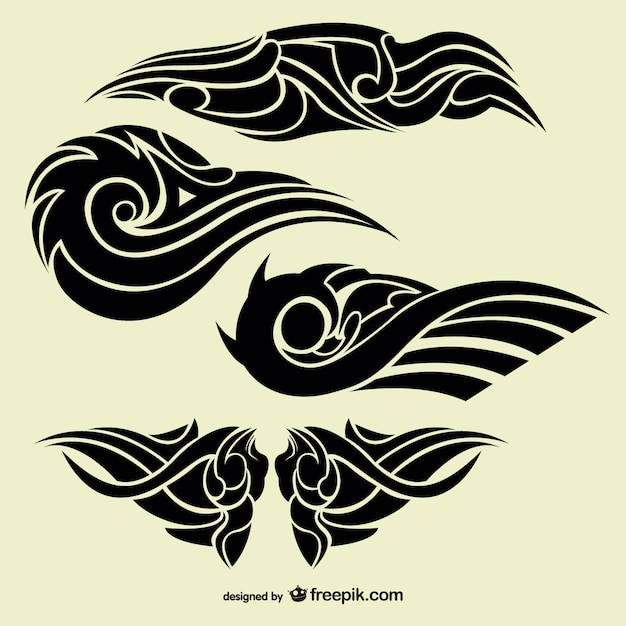 Tattoo Designs Vector Free Download: Tribal Abstract Tattoos Collection Vector