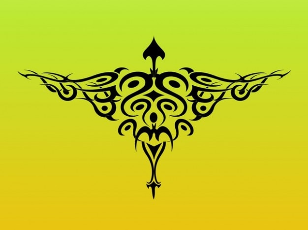Tribal bird wings tattoo graphics Free Vector