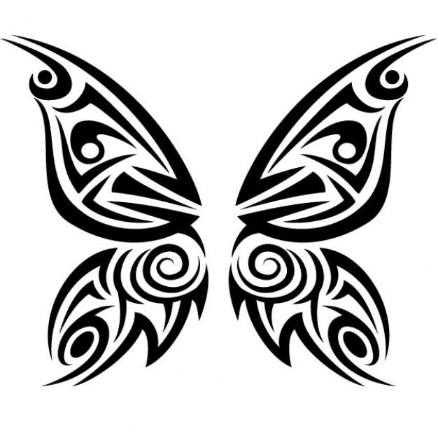 Tribal butterfly tattoo vector illustration Vector | Free ...