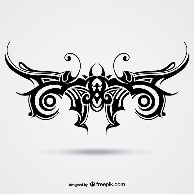 Tattoo Designs Vector Free Download: Tribal Butterfly Tattoo Vector