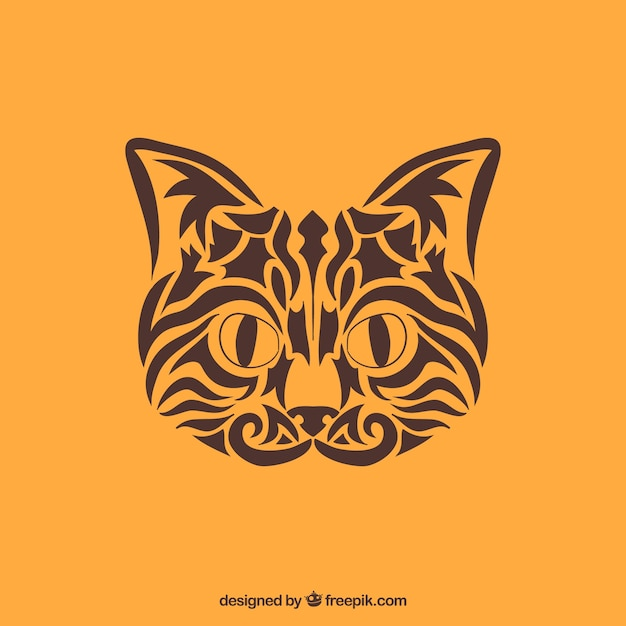 Tribal cat vector. Cat face made with\ tribals