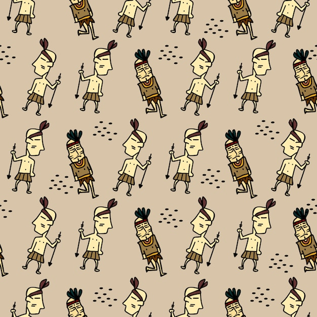 Tribal character seamless pattern Premium Vector
