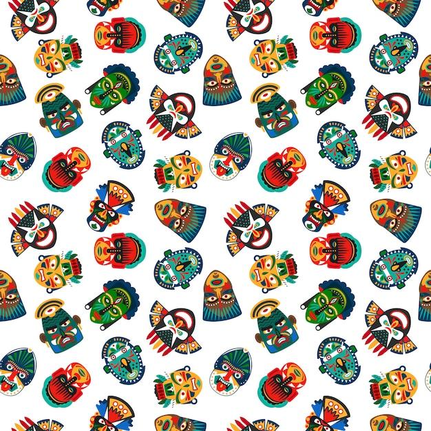 Tribal colorful masks seamless pattern Premium Vector