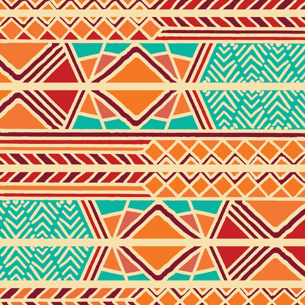 Tribal Ethnic Colorful Bohemian Pattern With Geometric