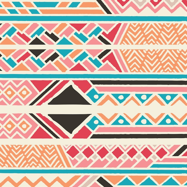 Tribal ethnic colorful bohemian pattern with geometric elements, African mud cloth, tribal design Premium Vector
