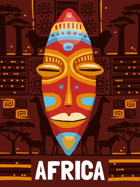 Tribal ethnic mask template Free Vector