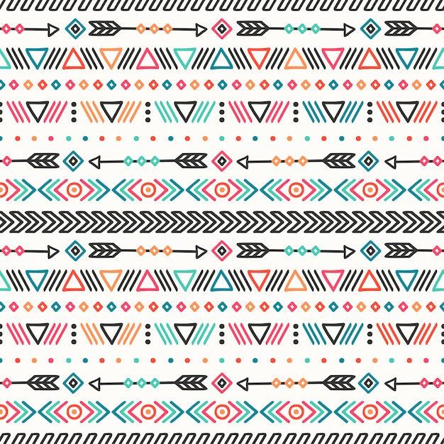 Tribal hand drawn line mexican ethnic seamless pattern. Premium Vector