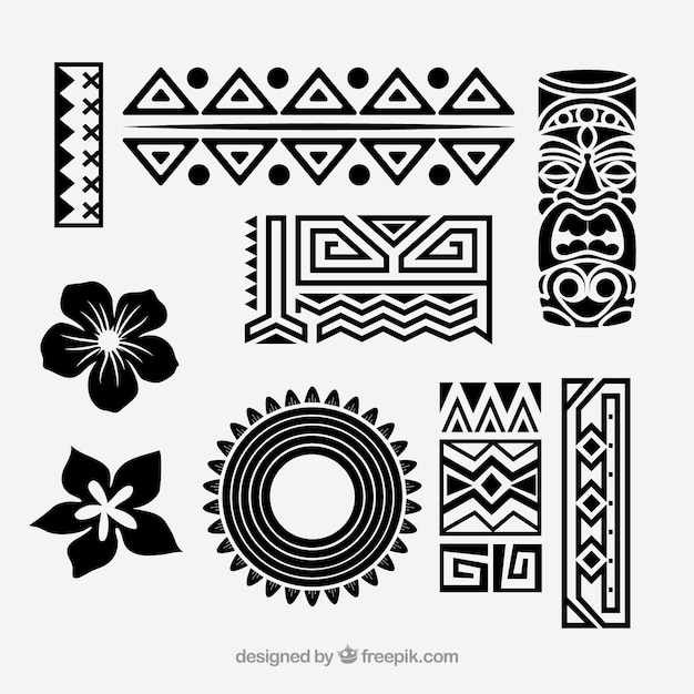 Tribal hawaiian icon vector set