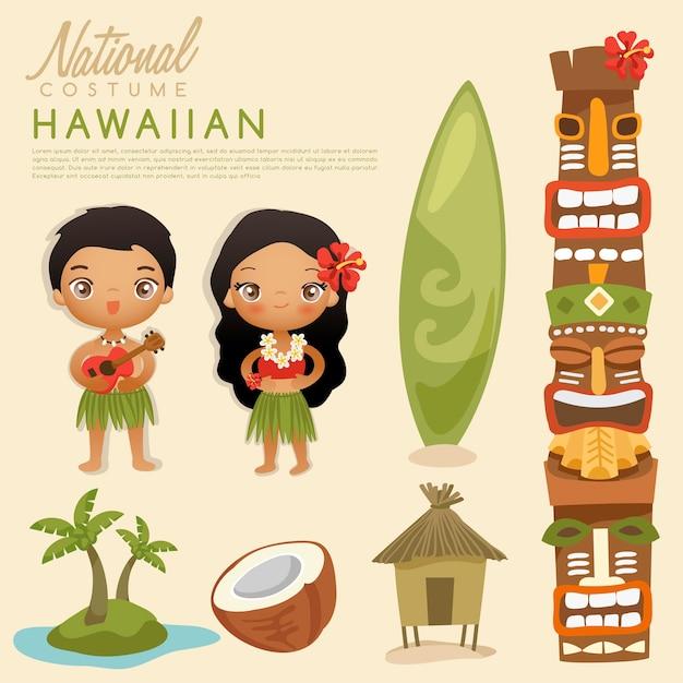 Племенные гавайские традиционные костюмы. Premium векторы